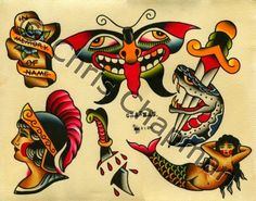Weird moth. I like it. /// Mermaids n Snakes n Daggers Tattoo Flash. $50.00, via Etsy.