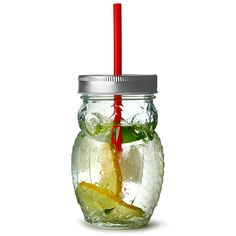 The Owl Shaped Drinking Jar makes a great kids drinking glass, and is perfect for unique drinks service. This novelty drinking jar with lid and straw is ideal for outdoor drinks service.