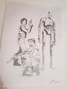 """star wars rouge one cast drawing Dimensions: 9"""" x 12"""" All sketches are done on 100g/m2 sketching paper 20% discount on everything only at www.williampow.co.uk  use code, wp20  at the checkout"""