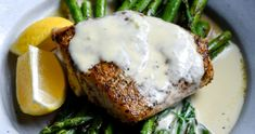Red Snapper with Lemon Cream Sauce - Food is Love Made Edible Asparagus Dishes, Asparagus Recipe, How To Dry Rosemary, How To Dry Oregano, Lemon Cream Sauces, Cocktail Syrups, Garlic Salmon, Red Snapper, Seafood Dishes