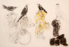 """Ascension Birds ii  by Christine Bowen  2010    27"""" x 39""""  mixed media on paper"""