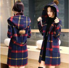 Koreans Ladies Wool Blens Slim Fit Hooded Overcoat Windbreak Womens 2Colors Coat