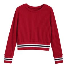 Fitting Stripes Panel Sweater (355 MXN) ❤ liked on Polyvore featuring tops, sweaters, red stripe top, stripe sweater, red striped sweater, stripe top and red top