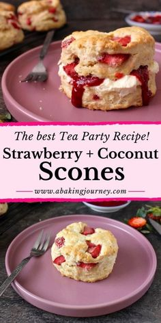 Strawberry Coconut Scones: the best tea party recipe! This super easy scones recipe creates super fluffy scones! Made with Coconut Cream and filled with Fresh Strawberries, these Brisith baked goods a Coconut Scones Recipe, Coconut Recipes, Tea Recipes, Snack Recipes, Scone Recipes, Recipies, Fresh Strawberry Recipes, Strawberry Scones, Homemade Strawberry Jam