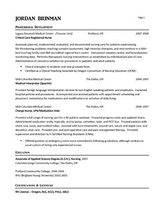 er nurse resume example pinterest resume examples and nursing career