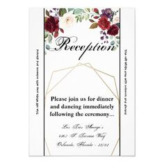 3.5x7 Reception Card Roses on White with Gold Geom Wedding Rehearsal Invitations, Save The Date Invitations, Beautiful Wedding Invitations, Wedding Rsvp, Wedding Invitation Design, Custom Invitations, Wedding Cards, Party Invitations, Invitation Ideas