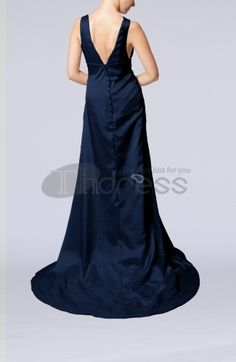 Elegant Column V-neck Sleeveless Elastic Woven Satin Appliques Evening Dresses