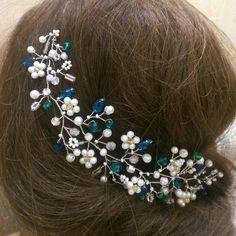 Bridal Headpiece, Wedding Hair Vine, Bridal Hair Vine, Bridal Hair Accessories, White Wedding Haedpiece, Bridal Halo, Ornament, Crystal Vine by RoyalAccessoriesAE on Etsy