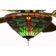 stained glass ceiling fans | ... .com: Sky Dragonfly Tiffany Stained Glass Ceiling Fan 52 Inches Width
