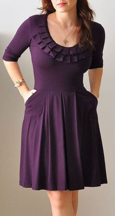 Purple Bridesmaid Dress With 3/4 Sleeves. love the modesty