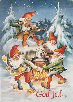 Lars Carlsson plays the fiddle outside by the fire Illustration Noel, Christmas Illustration, Illustrations, Norwegian Christmas, Scandinavian Christmas, Christmas Gnome, Vintage Christmas, Christmas Cards, Yule