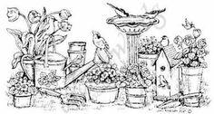 Northwoods Rubber Stamp Bird/Pots/Flower Border