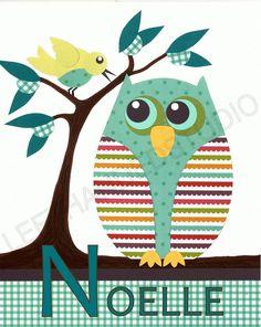 OWL Art Print, Nursery,  Children's Art Print, TREASURY, Kids Room Decor, 8x10,  Personalized by LeftHandedStudio. $15.00, via Etsy.