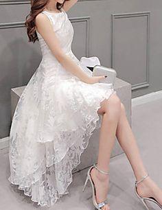 Gaine Robe Femme Soirée / Cocktail Sexy,Couleur Pleine Col Arrondi Asymétrique Sans Manches Blanc Autres Eté Taille Normale Non Elastique