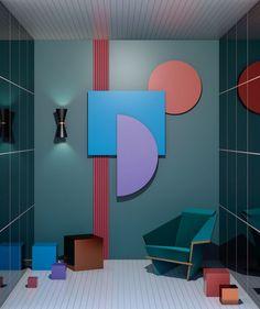 "Ana de Santos 在 Instagram 上发布:""➕"" Workspace Inspiration, Color Inspiration, Bathroom Interior Design, Interior Design Living Room, Retro, Memphis Design, Paint Designs, Jacuzzi, Geometric Shapes"