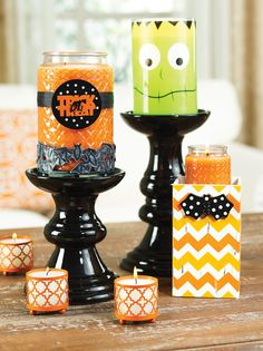 Is it too early to decorate for Halloween? NEVER! Recipe: Black Stands - Frank Lumie in your scent - Bats Wrap - Candy Corn candles in Mini and Large (or any orange wax scent) - Trick or Treat Magna Tie Set - Orange Quatrefoil Teenie Wrap - Teenie Volights in a white wax scent :)