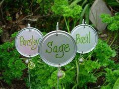 Garden markers repurposing old wire hangers