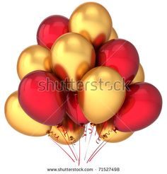 Party balloons golden red gold yellow birthday celebrate decoration holiday anniversary retirement graduation life events greeting card design element attractive render isolated on white background Iron Man Birthday, Red Birthday Party, Gold Birthday, Birthday Ideas, Yellow Birthday, Christmas Party Backdrop, Christmas Party Table, Christmas Balloons, Red Party Themes