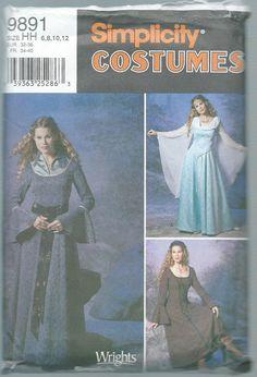 Medieval Renaissance Dress Pattern Simplicity 9891 Size HH 6 8 10 12 Factory Folded Unused