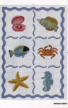 Animali pesci mare conchiglia cavalluccio estate punto croce