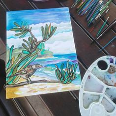 Noisy miner at Kings Beach. Norfolk Pine, Gray Instagram, Watercolour Painting, Ocean, Bird, Beach, Artwork, Work Of Art, The Beach