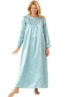 Brushed back satin night gown by Only Necessities® | Plus Size Sleep Gowns | Woman Within 35.00    (3x  30-32)