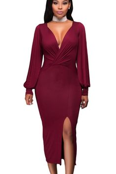 Prix: €12.94 Robe Midi Moulante Rouge V Profond Fente Manches Longues Pas Cher www.modebuy.com @Modebuy #Modebuy #Rouge #mode #sexy #gros