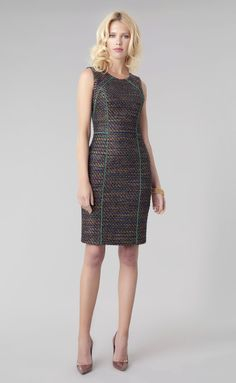 """David Meister Colorful Tweed Sheath ""  Love the Pop of Kelley Green"