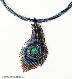 Peacock's feather paua abalone bead embroidery by jewelrywithsoul, $72.00