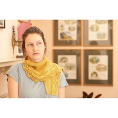 Brisha is a small, simple-to-work shawl or neckerchief, worked from point to point in a fingering weight yarn. The diamond lace edging is worked at the same time as the garter stitch body, and the shaping takes place within the garter section so that the lace flows smoothly and evenly without interruption.The sample shown was knit in Finch by Quince