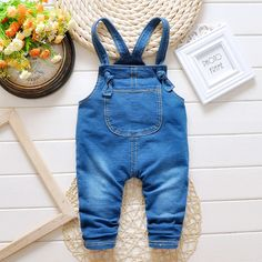 Denim Overalls For Girls Boy 2016 Loose Fsahion New Kids Infant Overalls Bib Jeans Boy Children's Jeans Baby Clothes Pants