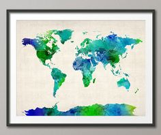 Watercolor Map of the World Map, Art Print - 12x16 up to 24x36 inch. $21.63+