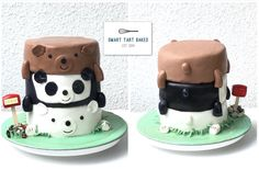 We Bare Bears cake. Three layers per bear, individually frosted then stacked.