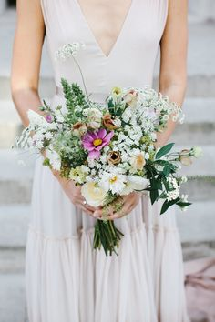 Wild Wedding Bouquet - Chris Barber Photography | Jenny Packham Blush Ombre Wedding Dress | Valentino Rockstud Shoes | Zara & ASOS Bridesmaid Separates | London Fields Brewery