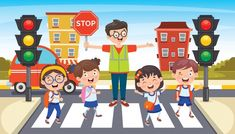 Road Safety Poster, Safety Posters, Transportation Crafts, Funny Character, Kids Zone, Traffic Light, Paper Crafts For Kids, Child Safety, Preschool Activities