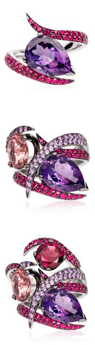 *This ring set by Shaun Leane features three interlocking rings, the first with a pear shaped amethyst stone surrounded by rubies, the second with an oval pink tourmaline stone set with pave purple sapphires, and the third ring has a round rhodolite stone also surrounded by rubies, each set in 18ct white gold.
