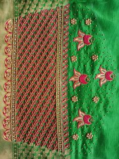 Half Saree Designs, Best Blouse Designs, Silk Saree Blouse Designs, Bridal Blouse Designs, Diy Embroidery Designs, Embroidery Patterns, Mirror Work Blouse, Work Images, Sleeve Designs