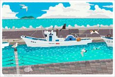 Toshinori Mori on Behance. Cat going on a day trip on a boat