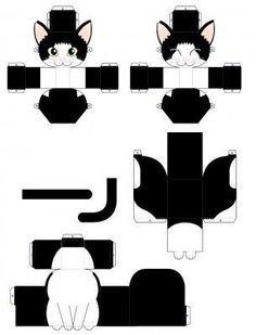Paper Doll Template, Cat Template, Box Templates, Banner Template, 3d Paper, Paper Toys, Paper Gifts, Chat Origami, Fun Crafts