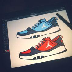 Illustration on my iPad. Nike Air Jordan shoes www.getkdm.com