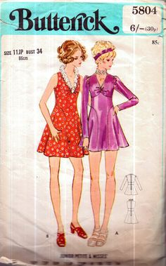 Genuine Vintage 1970s BUTTERICK 5804 DITSY '2' fUNKY Carnaby Look Flared  Retro Mini-Dresses, very Baby-Doll Sewing Pattern