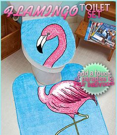 painted metal toilet paper holder - pink flamingo bathroom decor