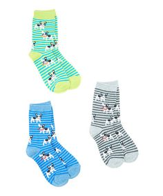 Another great find on #zulily! Lime, Gray & Denim Blue French Bull Dog Socks Set #zulilyfinds