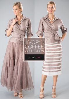 Coffee is a very sophisticated and elegant colour for the modern mother of the bride and mother of the groom. All of these two piece outfits are pure silk and available in many colours. Visit www.livingsilk.com to experience the elegance of Living Silk For plus size ladies, all of our garments can be made to measure. #livingsilk #motherofthebridedresses #motherofthegroomdresses #puresilk #celebrateinsilk