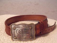 Vintage Tony Lama Braided Leather Western Belt with Tony Lama 3R Buckle #TonyLama #Braided