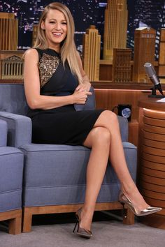 In a Antonio Berardi dress and Sophia Webster pumps on The Tonight Show With Jimmy Fallon   - HarpersBAZAAR.com