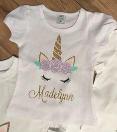 Unicorn Birthday Shirt Personalized Party GlitterFloral
