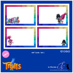 DreamWorks Trolls: free Cards for scrapbooking, autographs & Trolls Birthday Party, Troll Party, Birthday Cards, Birthday Ideas, Classroom Design, Classroom Themes, Dreamworks, Mini Albums, Scrapbooking