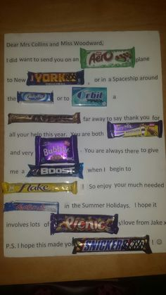Chocolate gift card for a teacher with UK chocolate bars xx