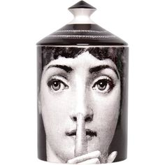 Fornasetti Silenzio candle (€150) ❤ liked on Polyvore featuring home, home decor, candles & candleholders, multi, fornasetti and fornasetti candles